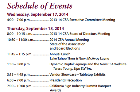 CA Sign Association Agenda
